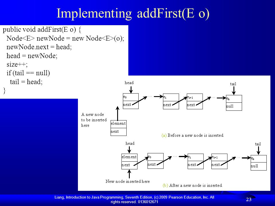 Implementing addFirst(E o)