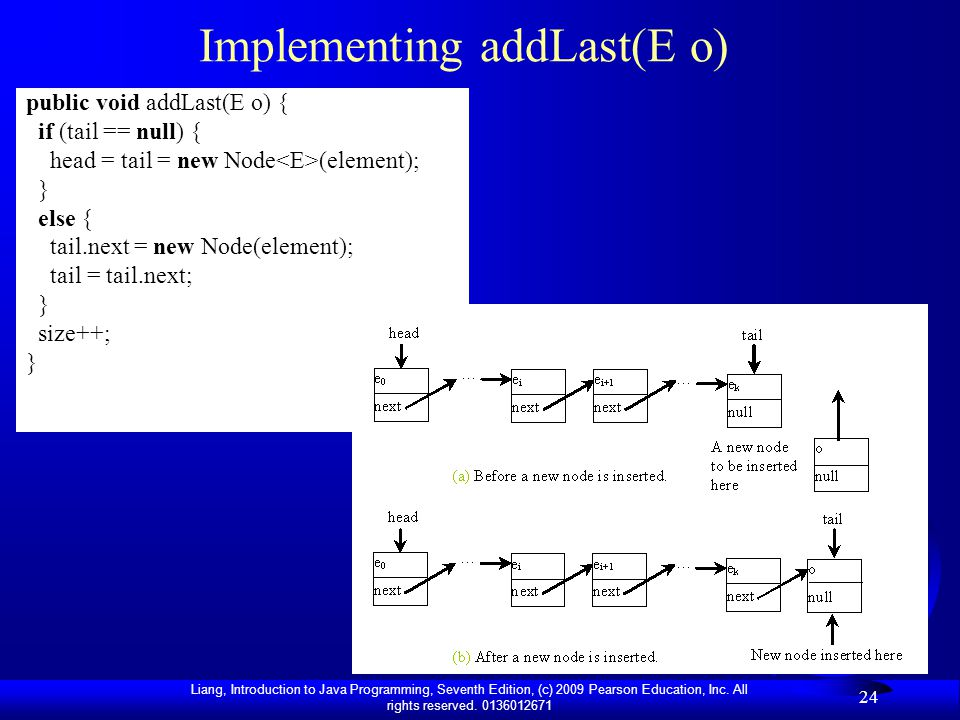 Implementing addLast(E o)