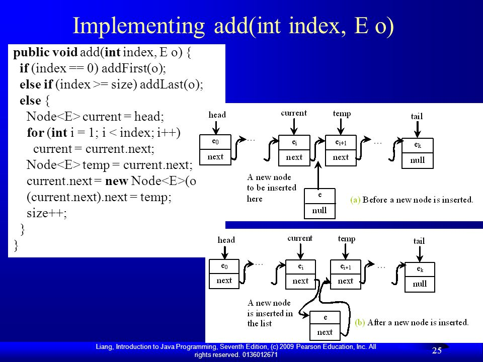 Implementing add(int index, E o)