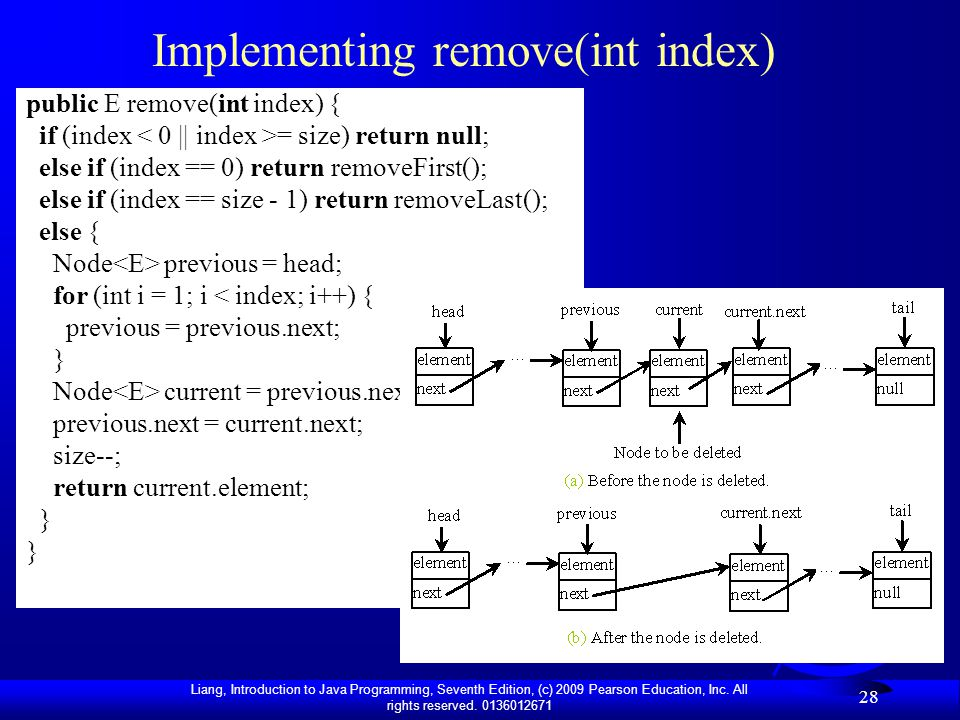 Implementing remove(int index)