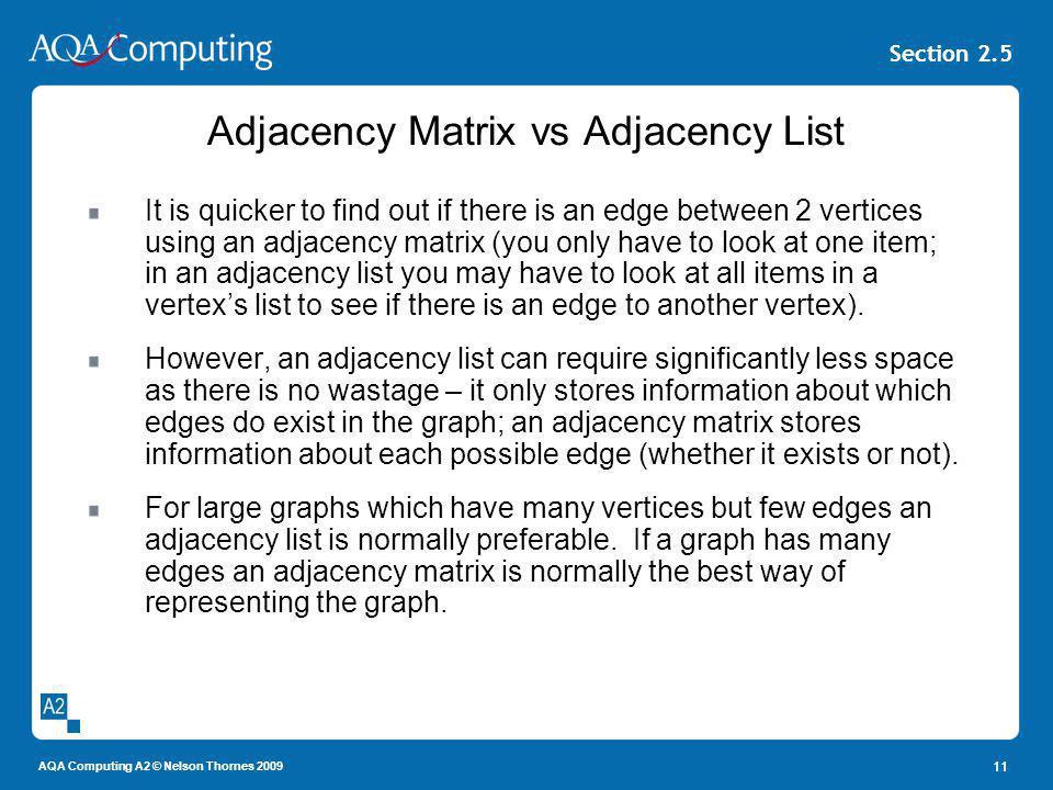 Adjacency Matrix vs Adjacency List