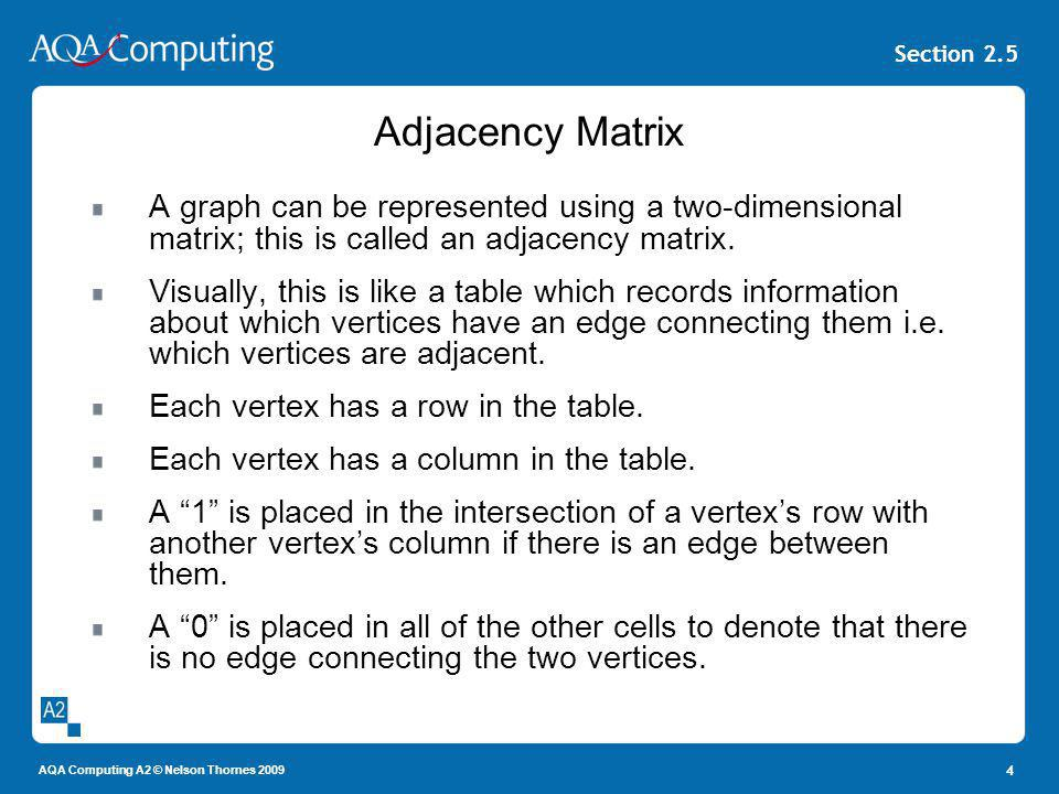 Adjacency Matrix A graph can be represented using a two-dimensional matrix; this is called an adjacency matrix.