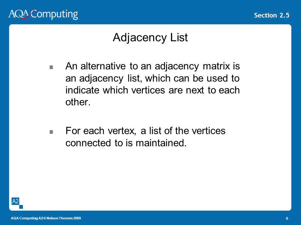 Adjacency List An alternative to an adjacency matrix is an adjacency list, which can be used to indicate which vertices are next to each other.