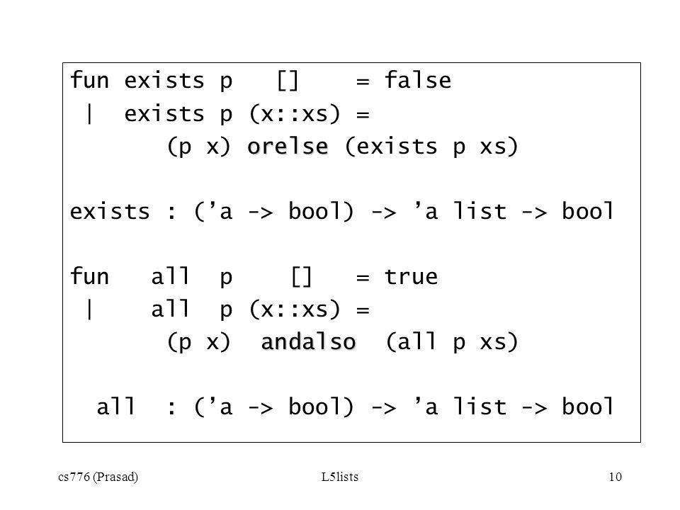 (p x) orelse (exists p xs)