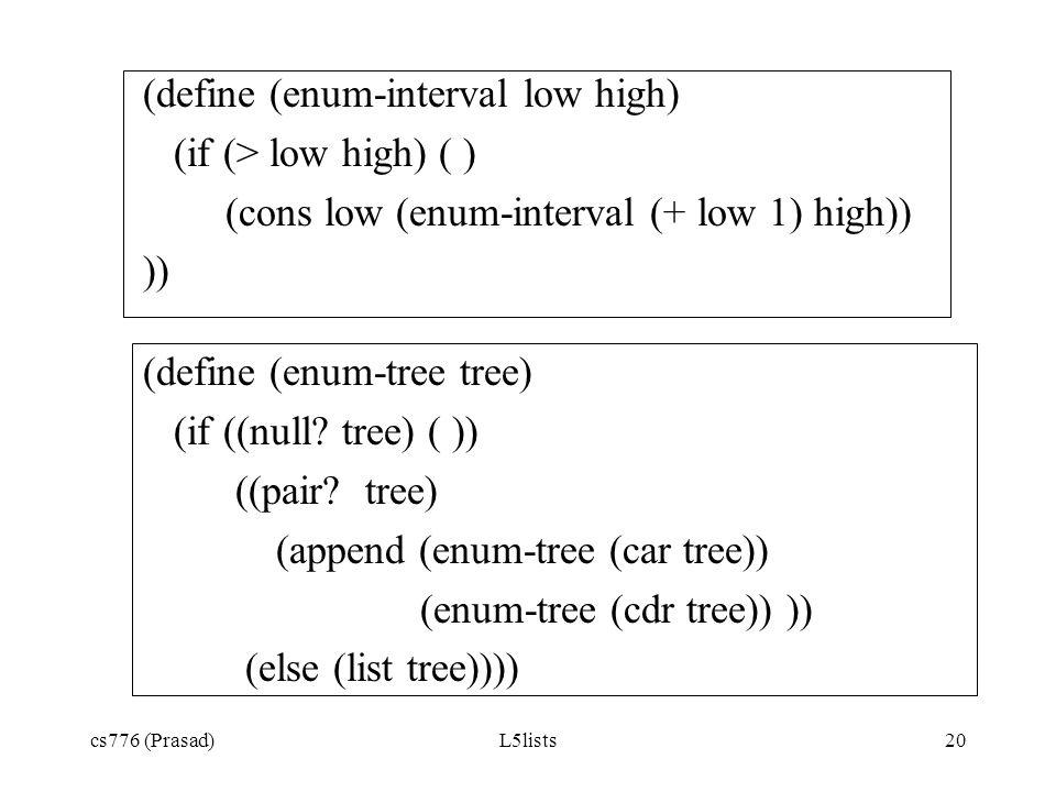 (define (enum-interval low high) (if (> low high) ( )