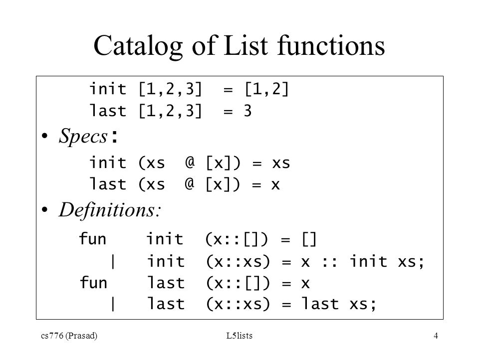Catalog of List functions