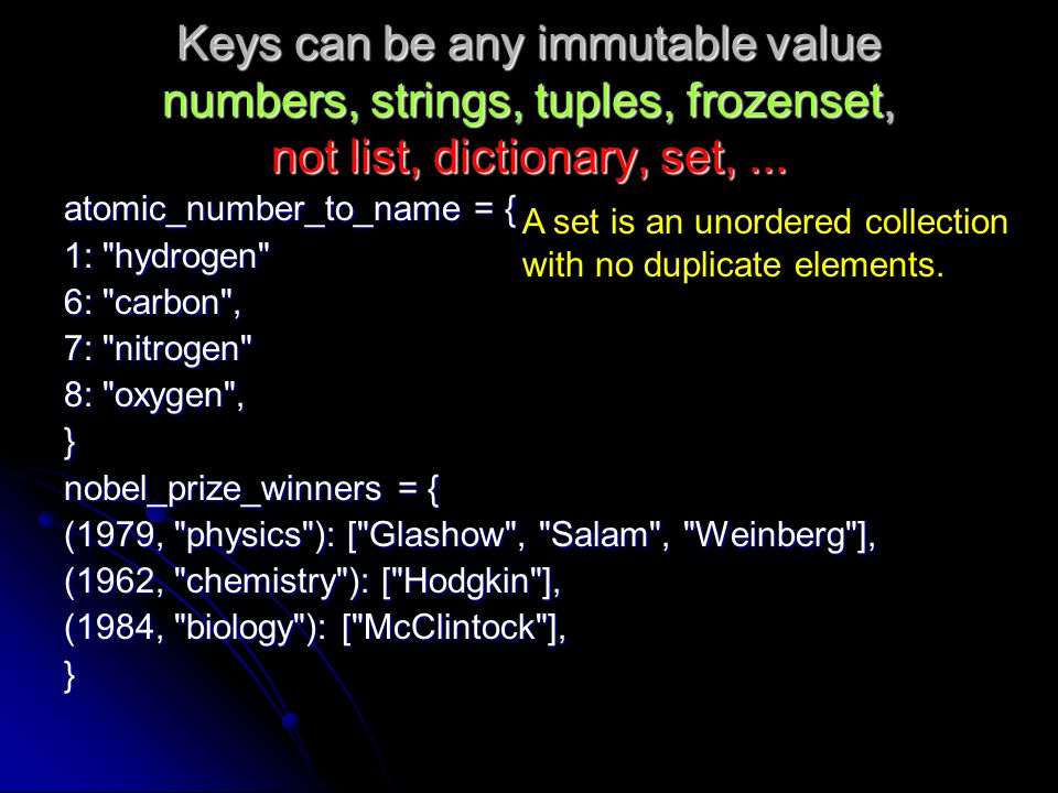 Keys can be any immutable value numbers, strings, tuples, frozenset, not list, dictionary, set, ...
