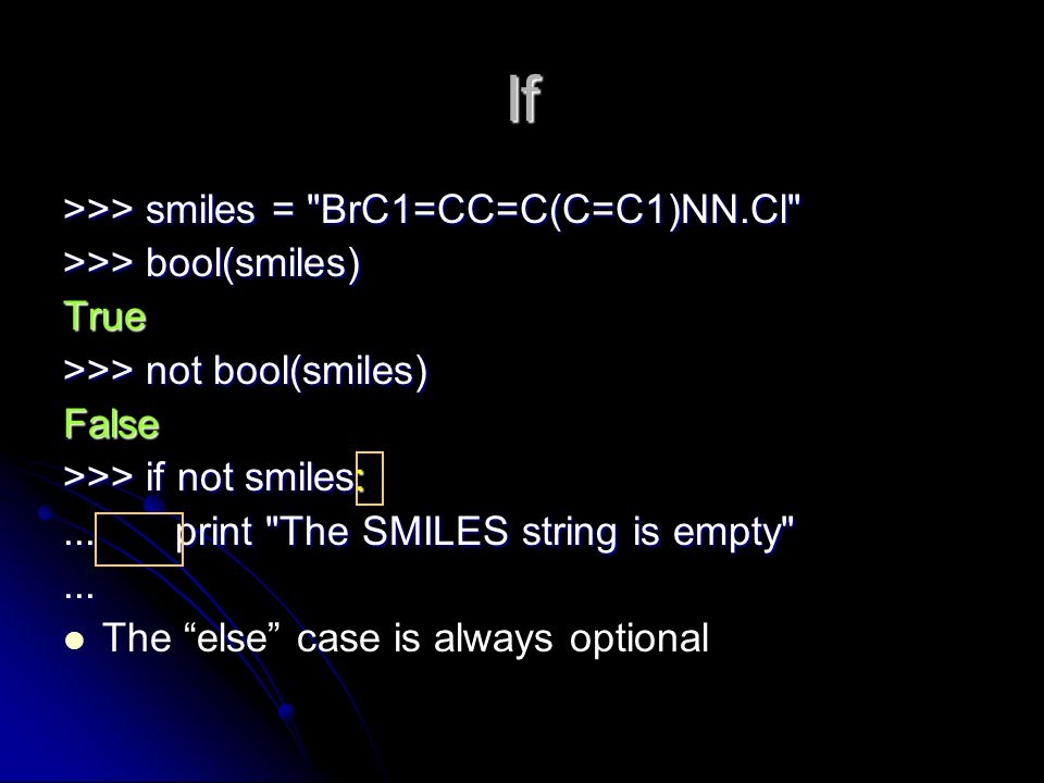 If >>> smiles = BrC1=CC=C(C=C1)NN.Cl