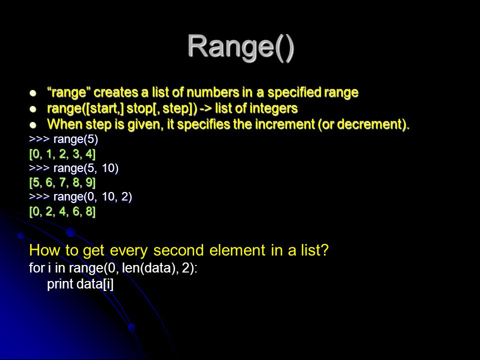 Range() How to get every second element in a list