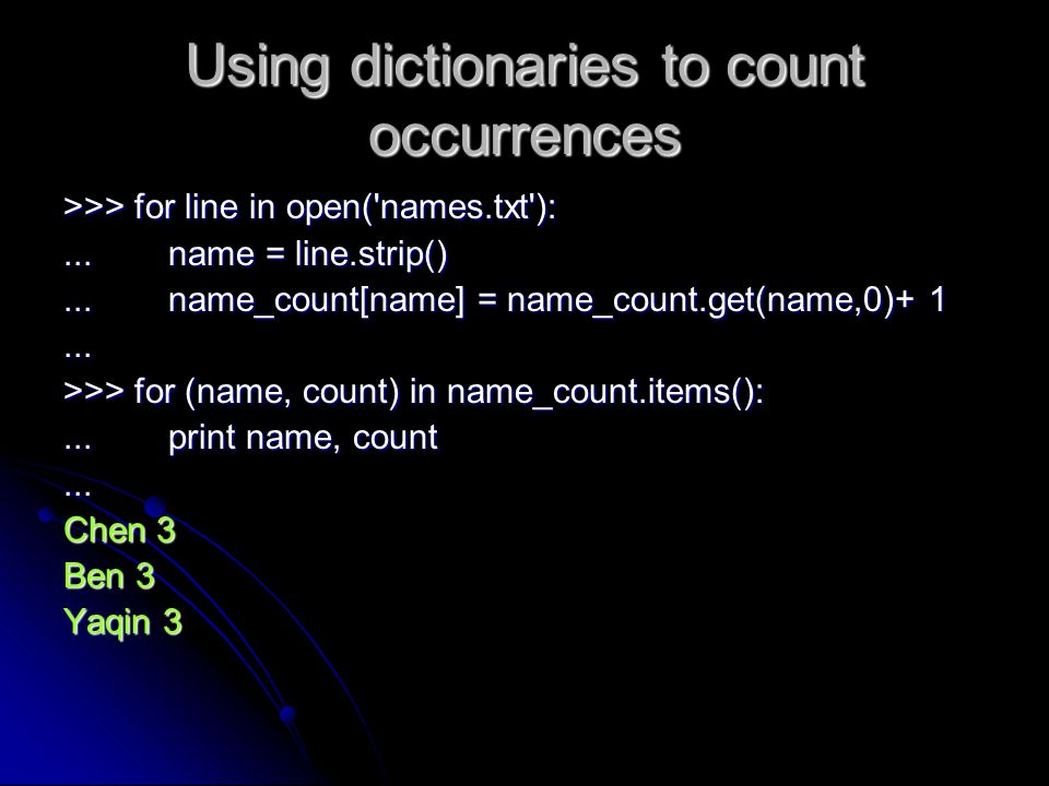 Using dictionaries to count occurrences