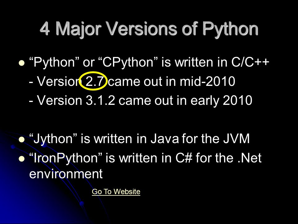 4 Major Versions of Python