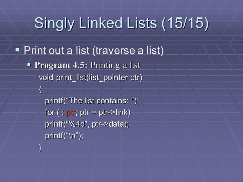Singly Linked Lists (15/15)
