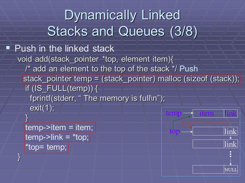 Dynamically Linked Stacks and Queues (3/8)