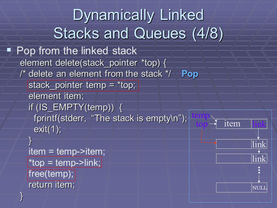 Dynamically Linked Stacks and Queues (4/8)