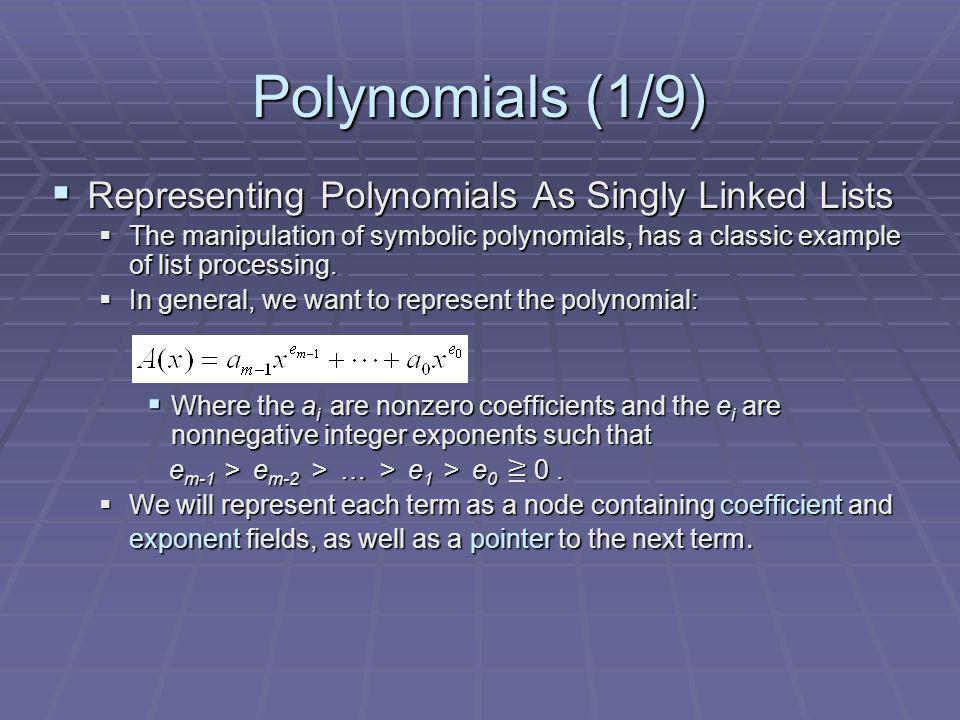 Polynomials (1/9) Representing Polynomials As Singly Linked Lists