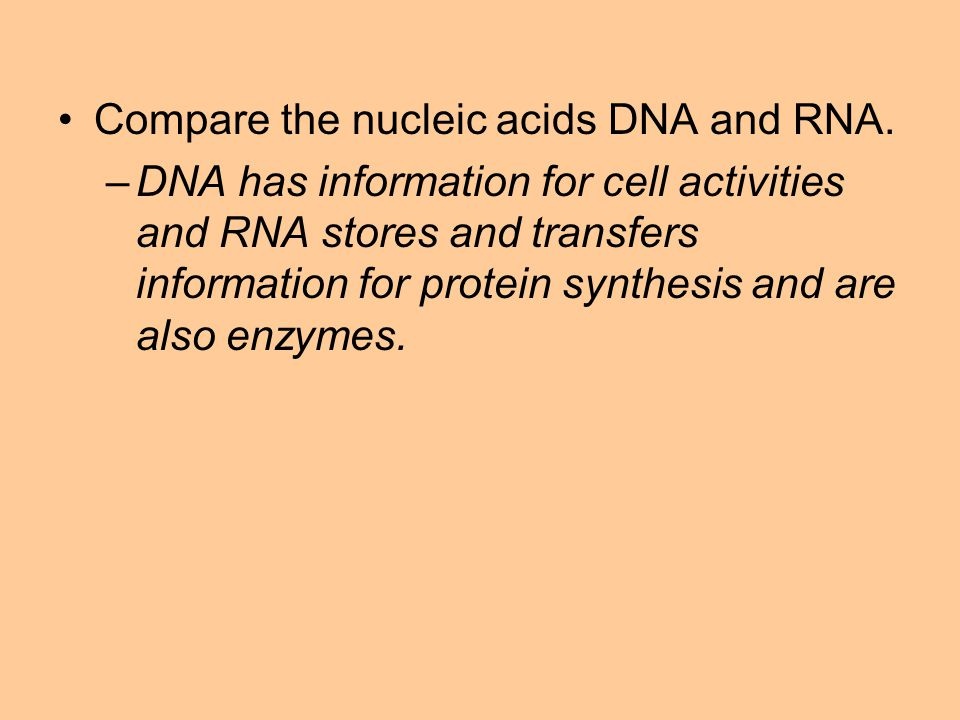 Compare the nucleic acids DNA and RNA.