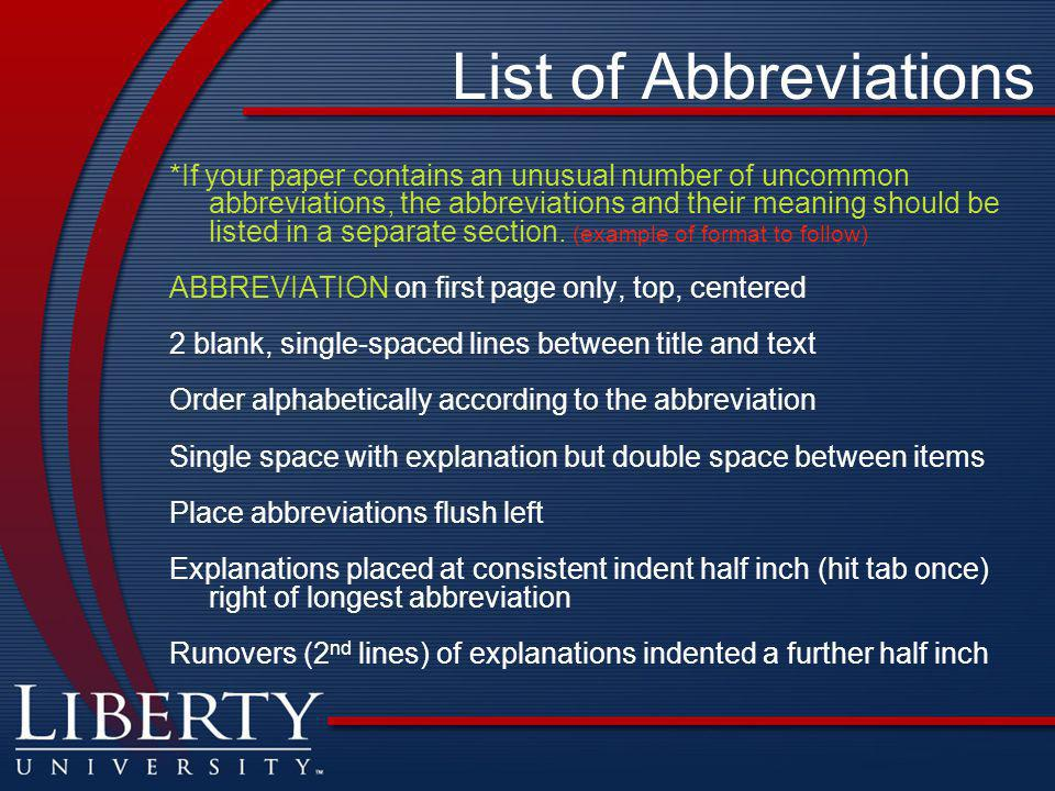 Abbreviations research paper