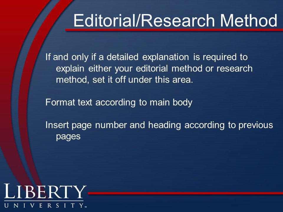 Editorial/Research Method