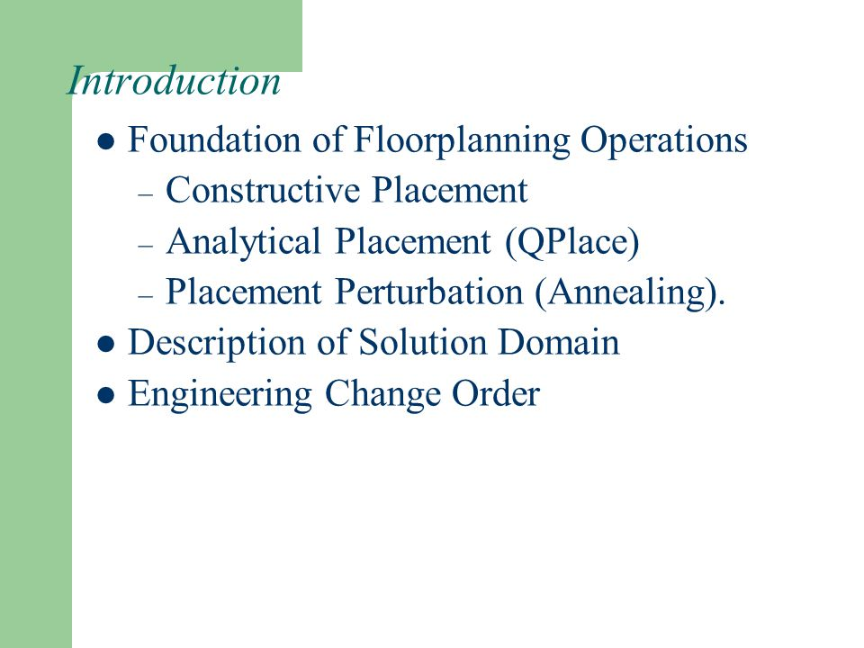 Introduction Foundation of Floorplanning Operations