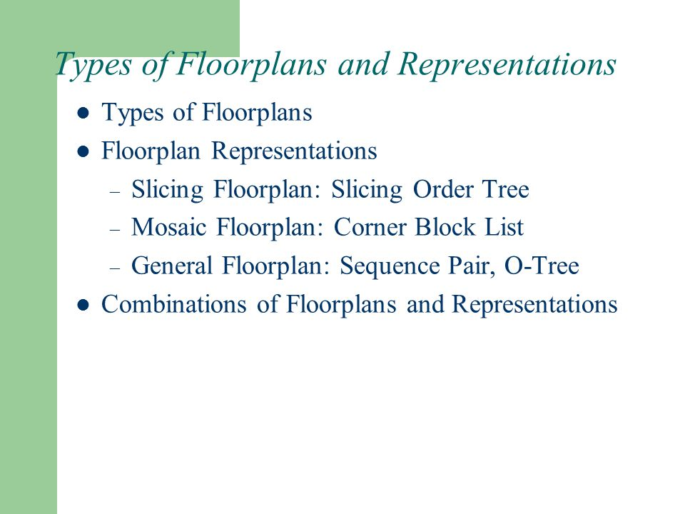 Types of Floorplans and Representations