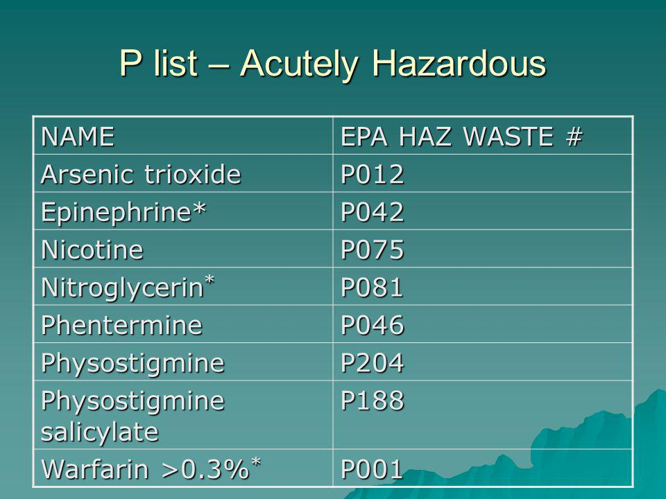 P list – Acutely Hazardous