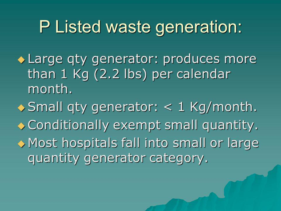 P Listed waste generation: