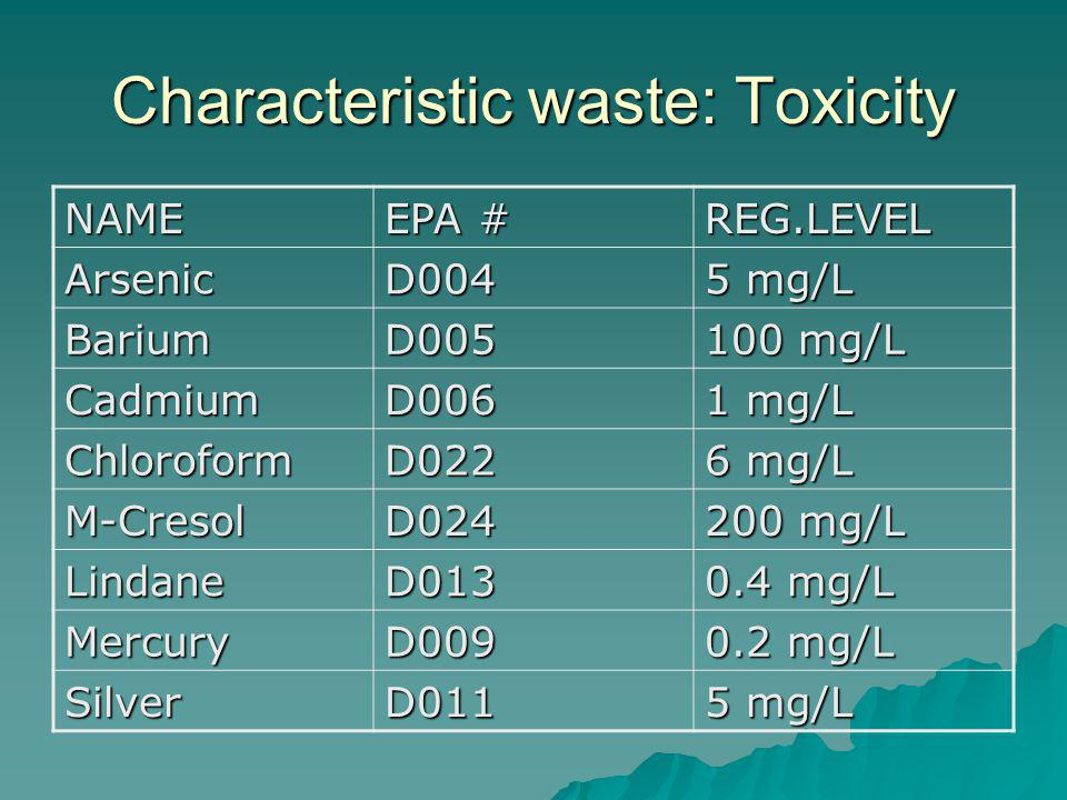 Characteristic waste: Toxicity