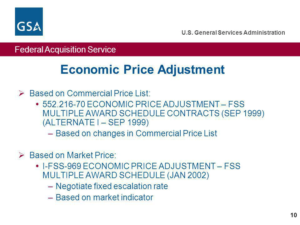 Economic Price Adjustment