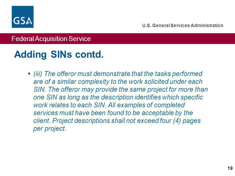 Adding SINs contd.