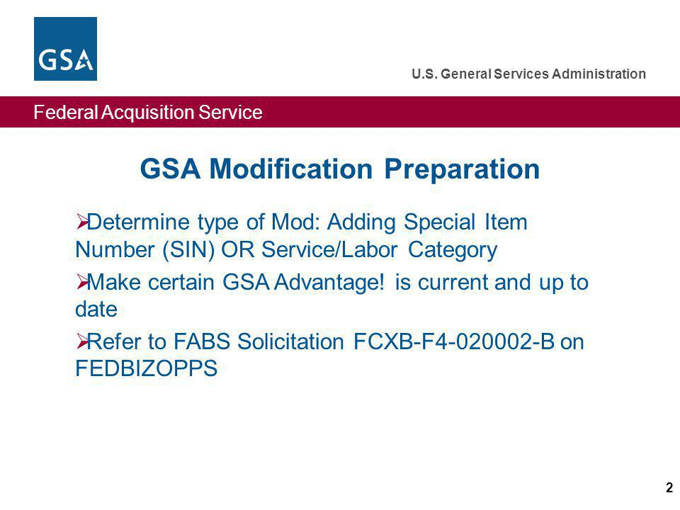 GSA Modification Preparation