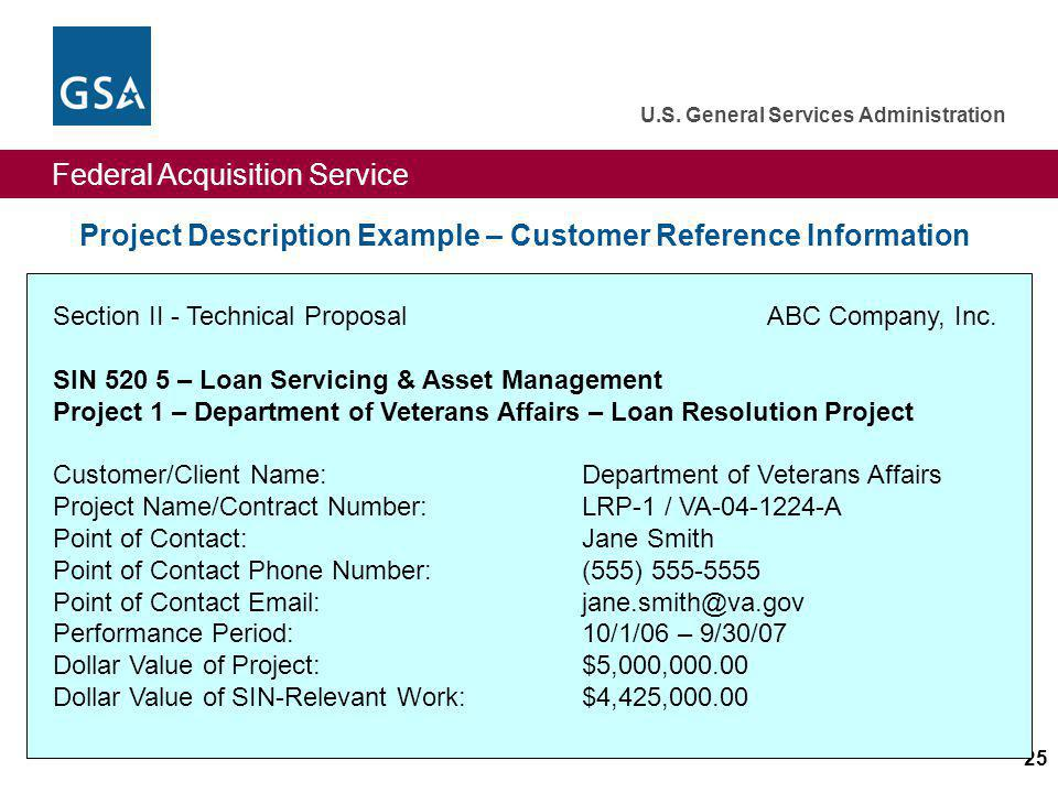 Project Description Example – Customer Reference Information