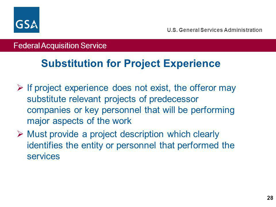 Substitution for Project Experience