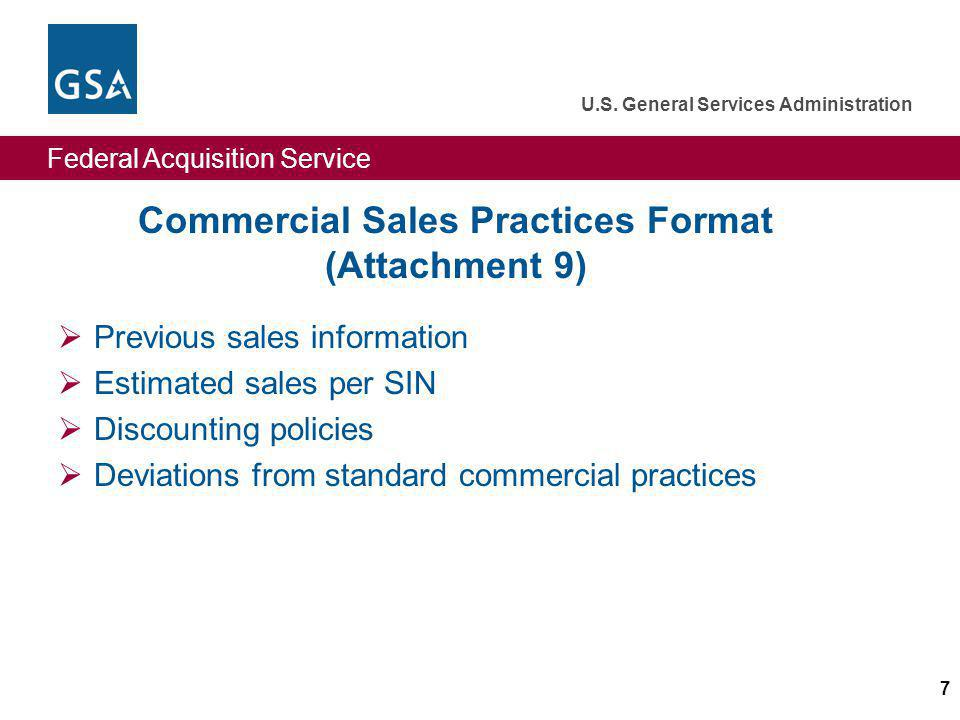 Commercial Sales Practices Format (Attachment 9)
