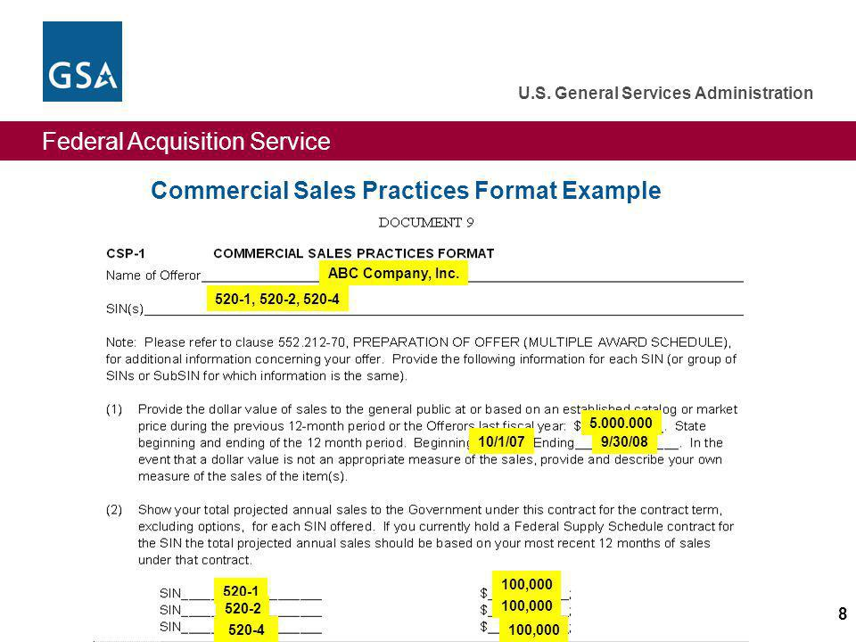 Commercial Sales Practices Format Example