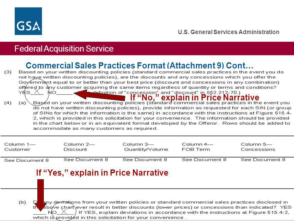 Commercial Sales Practices Format (Attachment 9) Cont…