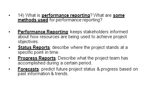 14) What is performance reporting
