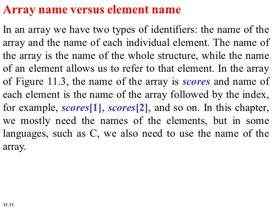 Array name versus element name