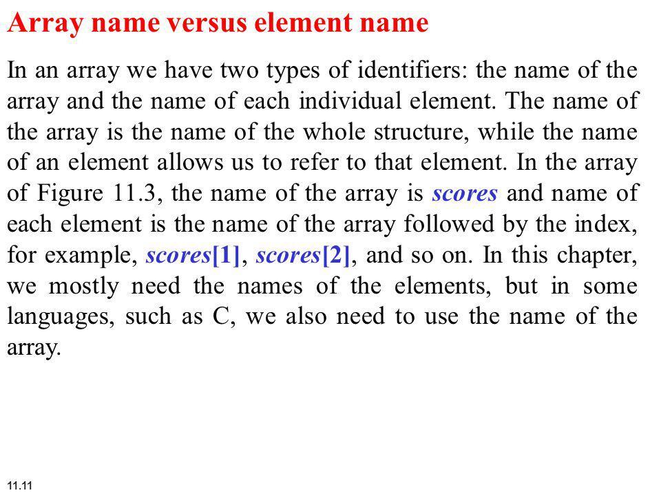 Array name versus element name