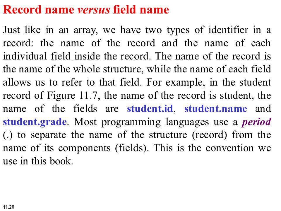 Record name versus field name