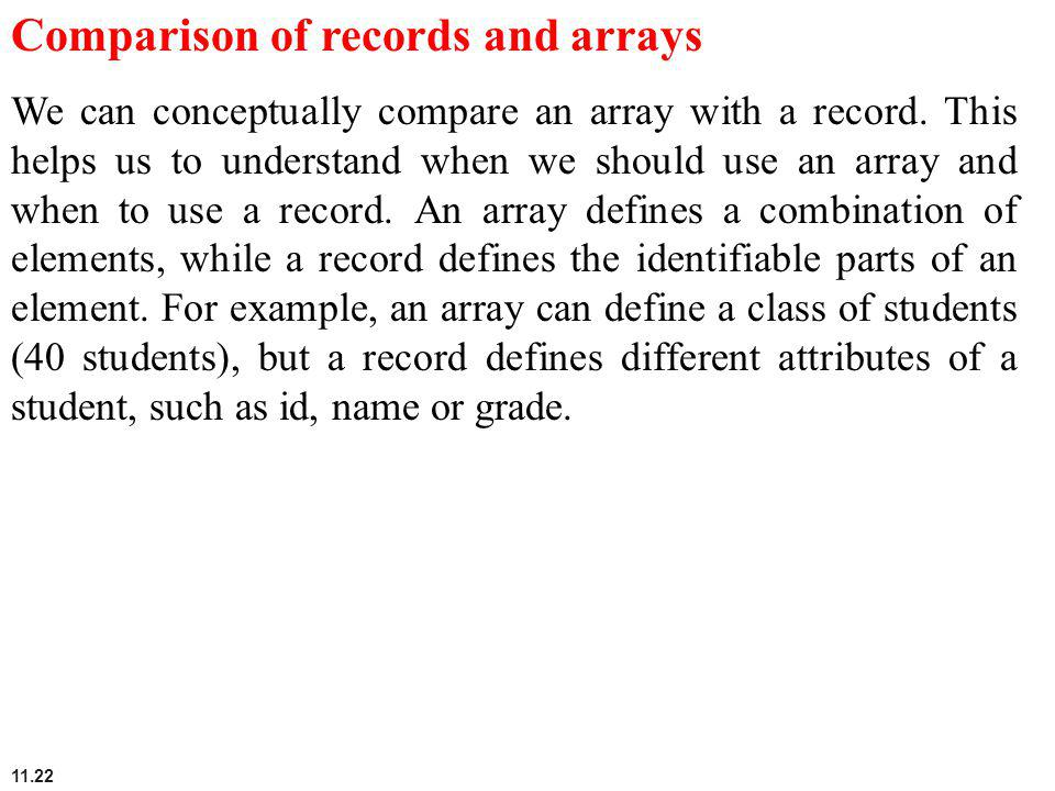 Comparison of records and arrays