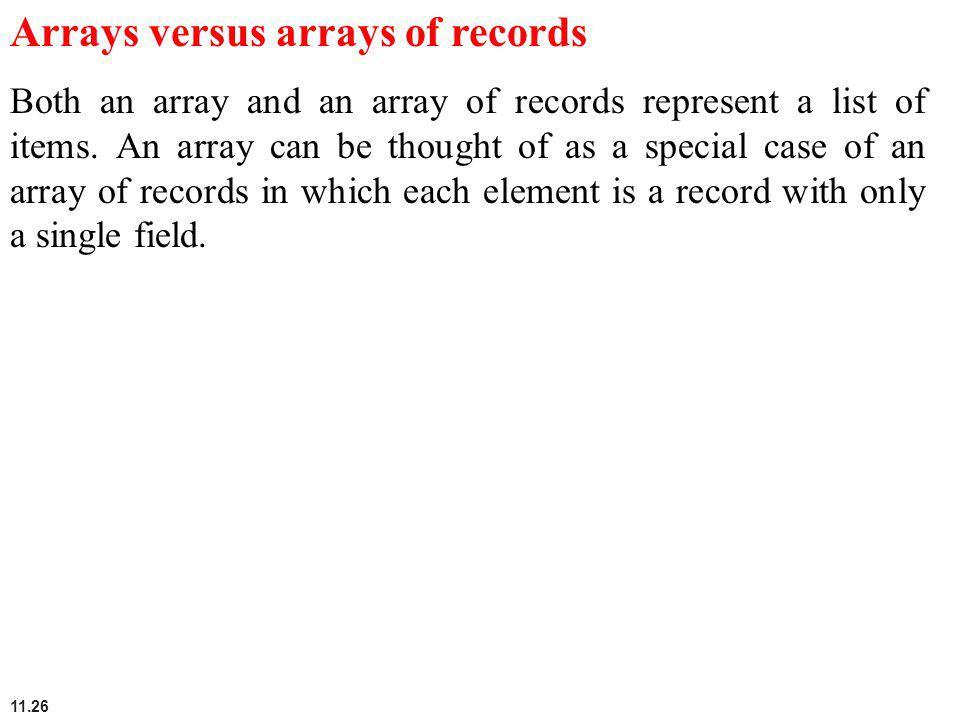 Arrays versus arrays of records