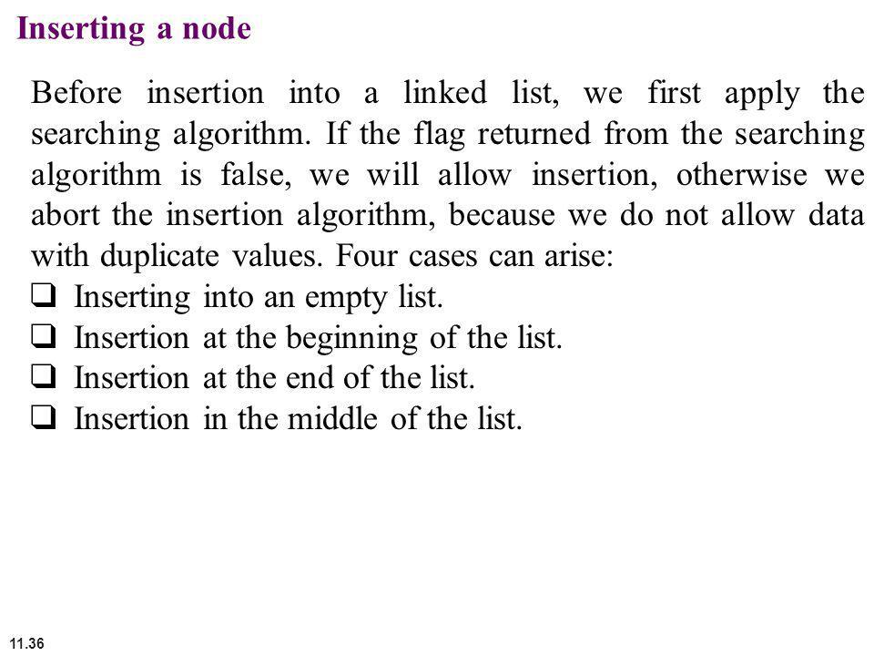 Inserting a node