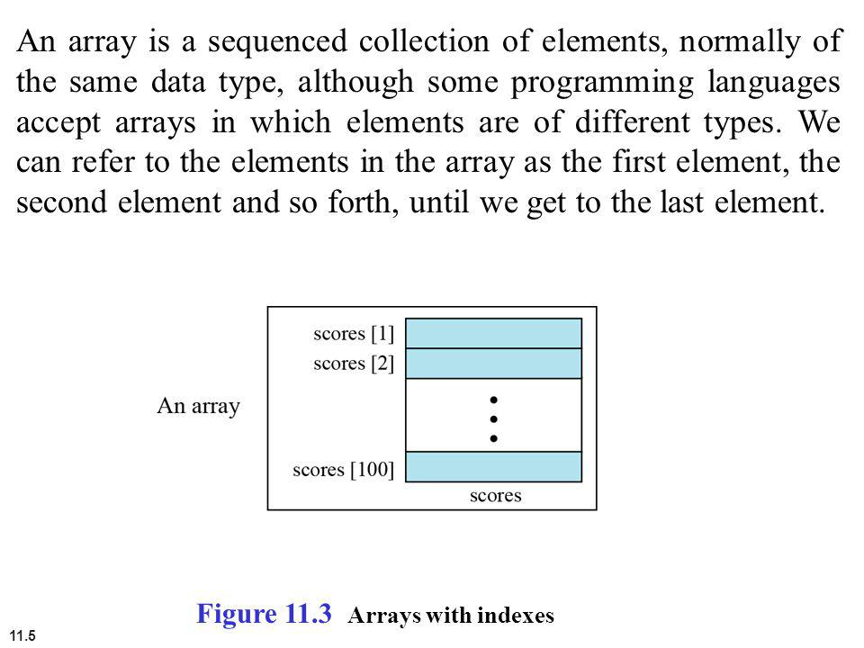 An array is a sequenced collection of elements, normally of the same data type, although some programming languages accept arrays in which elements are of different types. We can refer to the elements in the array as the first element, the second element and so forth, until we get to the last element.