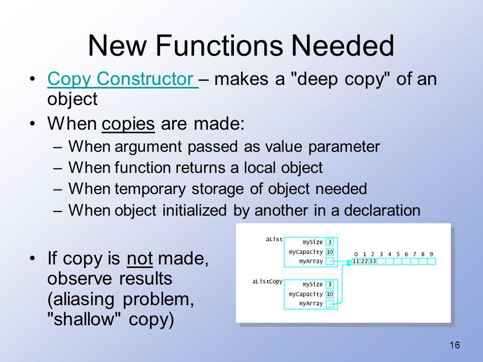 New Functions Needed Copy Constructor – makes a deep copy of an object. When copies are made: When argument passed as value parameter.