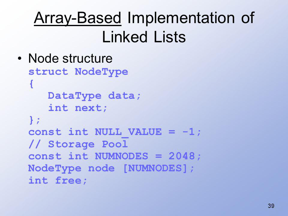 Array-Based Implementation of Linked Lists