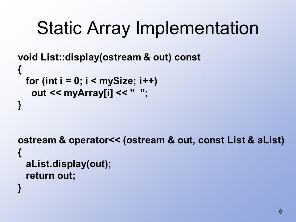 Static Array Implementation