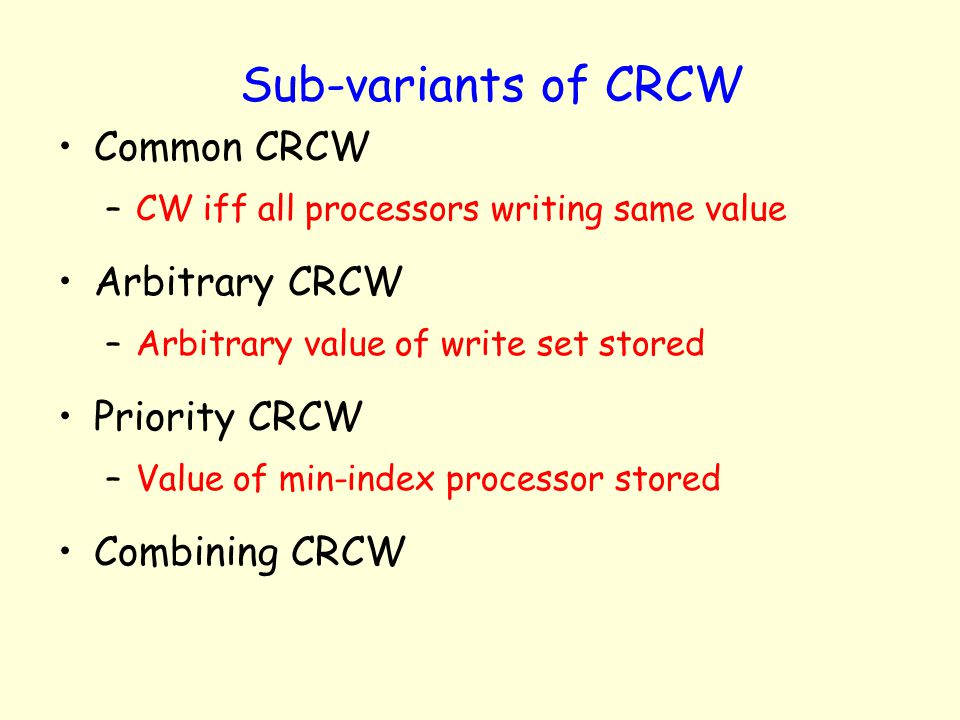 Sub-variants of CRCW Common CRCW Arbitrary CRCW Priority CRCW