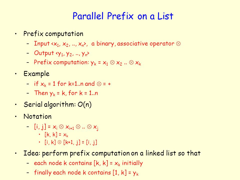 Parallel Prefix on a List