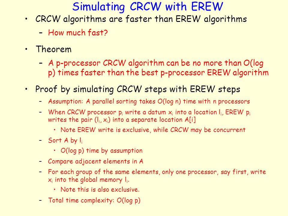 Simulating CRCW with EREW