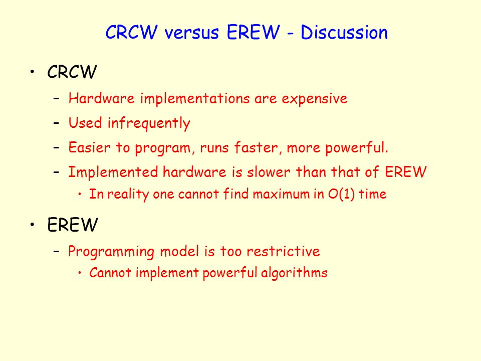 CRCW versus EREW - Discussion